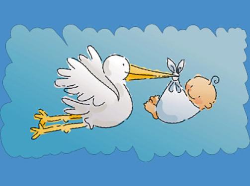 Открытка - аист принес новорожденного малыша!