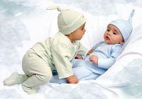 Открытка с рождением новорожденных близнецов!
